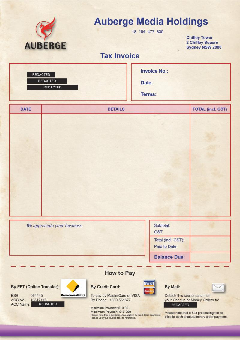 Tax Invoice - Redacted